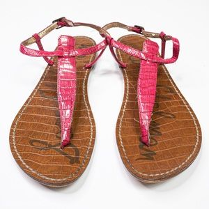 Sam Edelman GiGi Faux Alligator Hot Pink Sandal